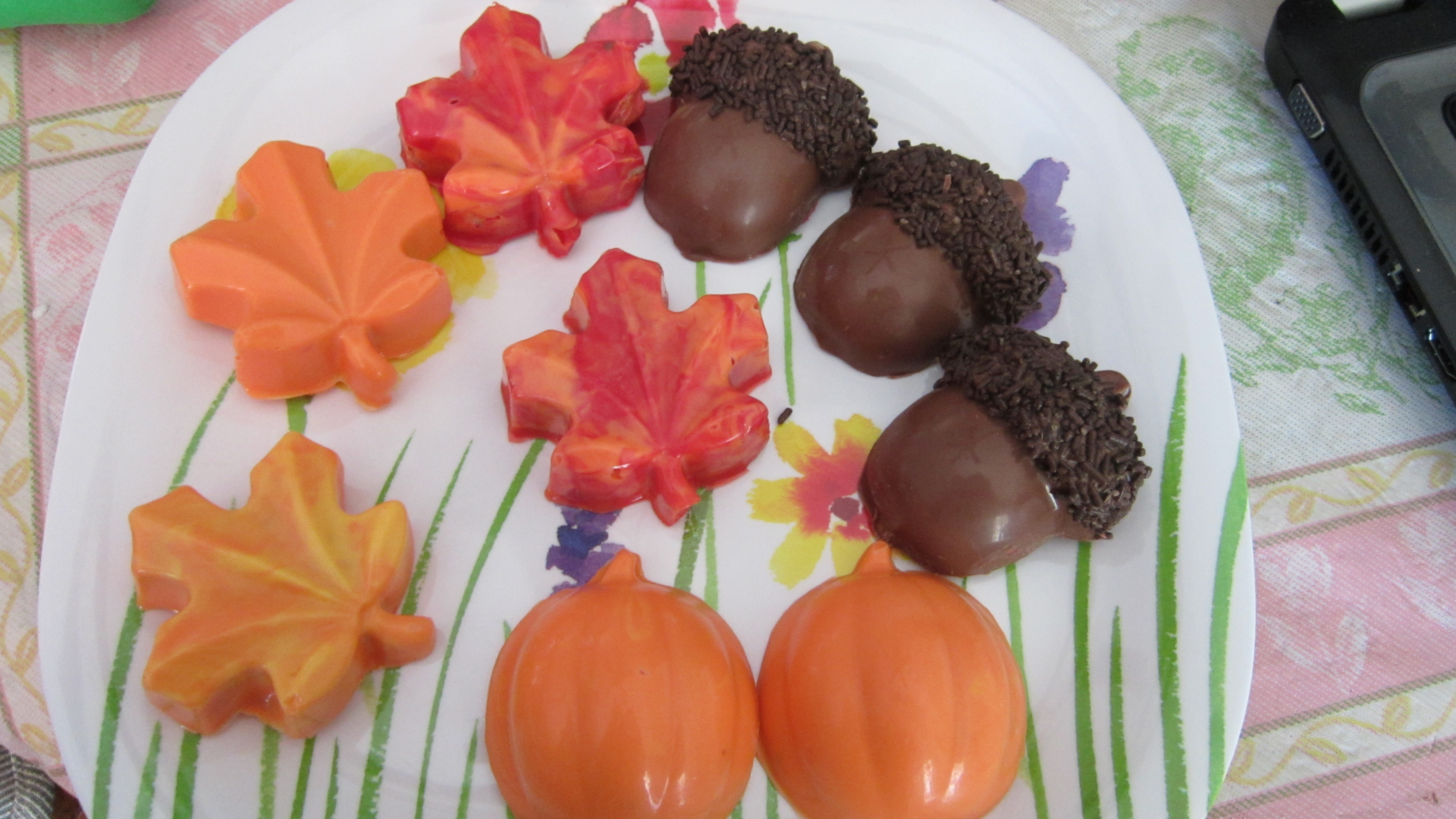 Orange Chocolate Cake Leaf Decorate