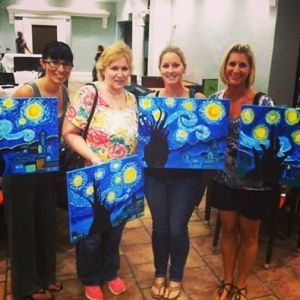 stary night wine and painting