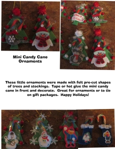 Mini candy cane ornament