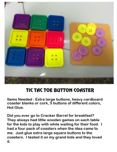 Tick Tack Toe Button Coaster