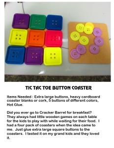Tick Tack Toe Button Coaster