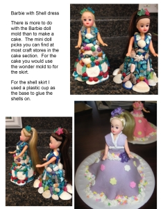barbie shell dress & cakes