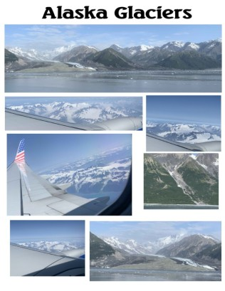 Glacier views from cruise ship and airplane